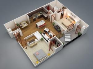 Tata Letak Apartemen dengan 1 Kamar Tidur dan 2 Kamar Tidur Beserta Arsitektur & Desain